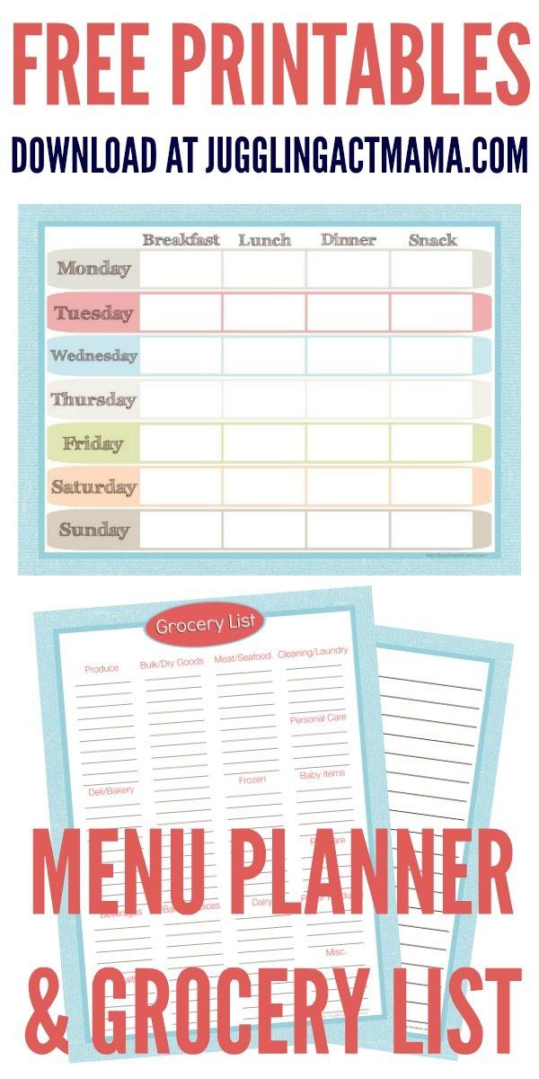 Menu Planner and Grocery List Printable Set