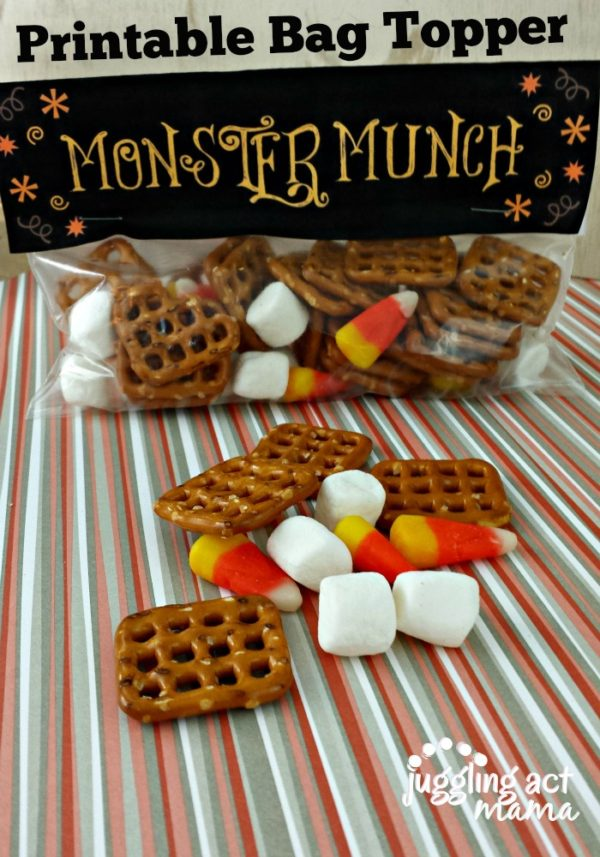Monster Munch with Printable Bag Toppers from Juggling Act Mama