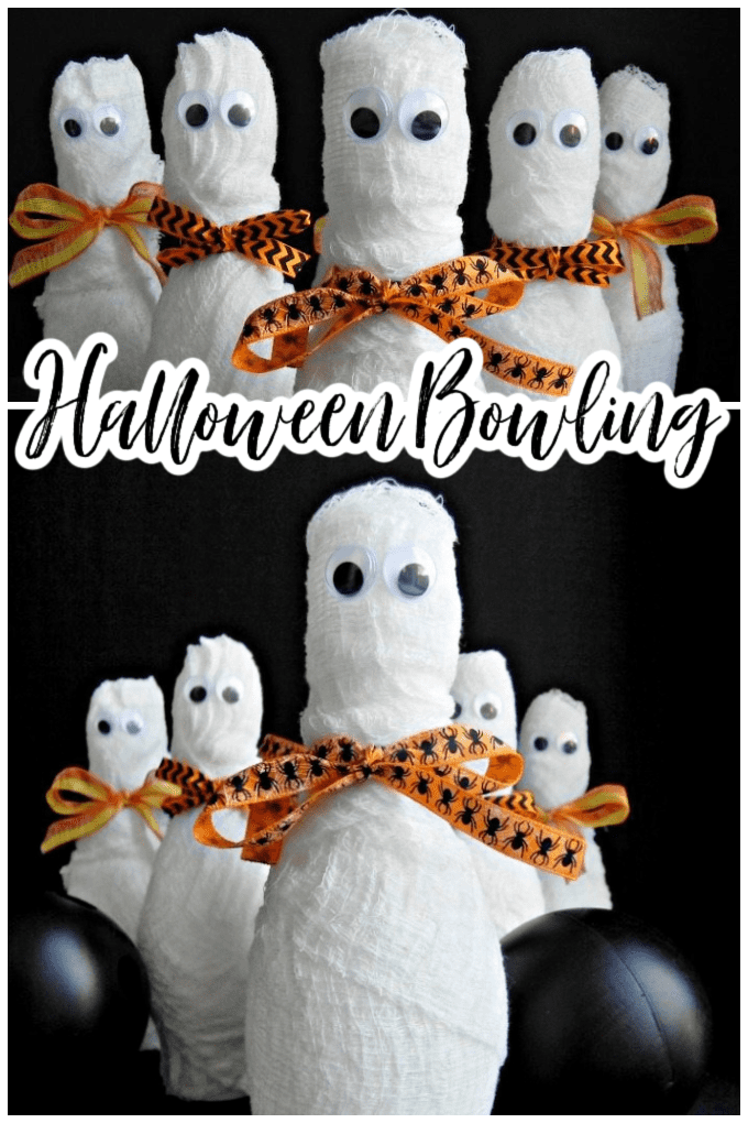 This Halloween Bowling - or Mummy Bowling - activity is perfect for kids this Halloween. Create your own adorable mummy bowling pins using just a few easy items. You'll love how fast this craft is to make! via @jugglingactmama
