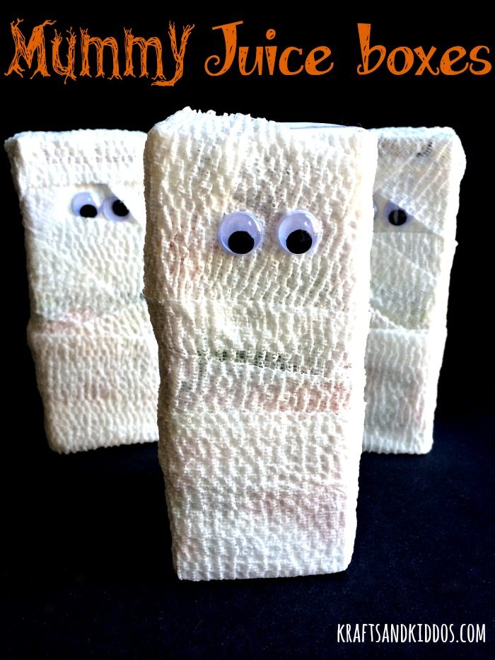 Halloween Mummy Juice Boxes by Krafts and Kiddos