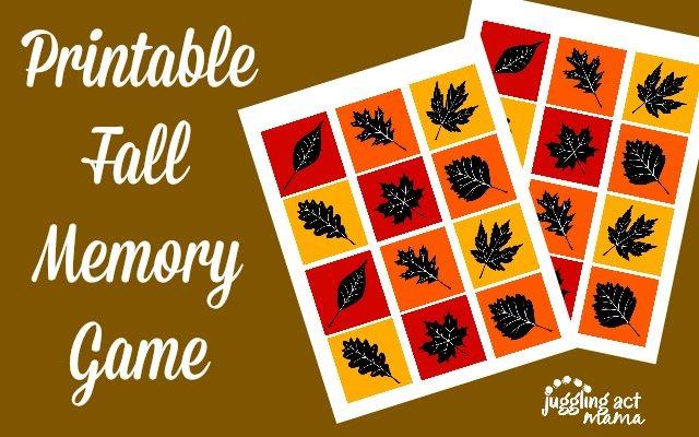 Printable Fall Memory Game