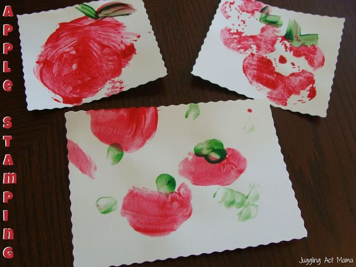 15 Fantastic Fall Crafts for Kids {Apple Stamping from Juggling Act Mama}