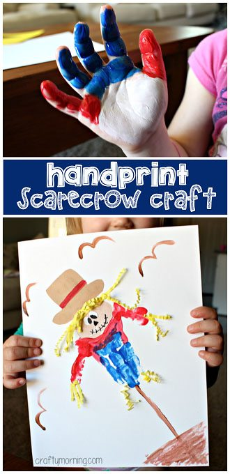 15 Fantastic Fall Crafts for Kids {Handprint Scarecrow Craft from Crafty Morning}