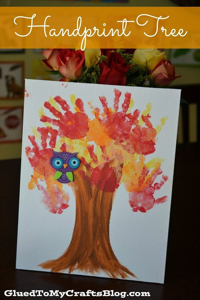 15 Fantastic Fall Crafts for Kids {Handprint Tree From Glued to My Crafts}