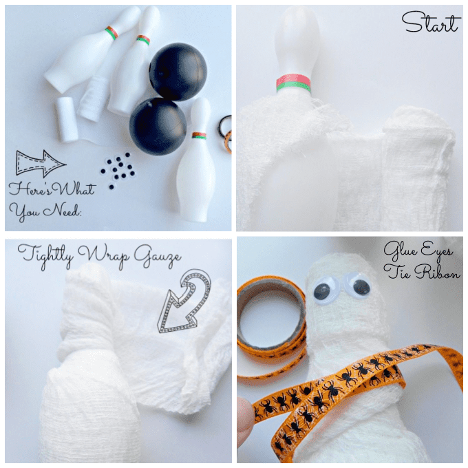 Collage image of how to make mummy bowling pins.