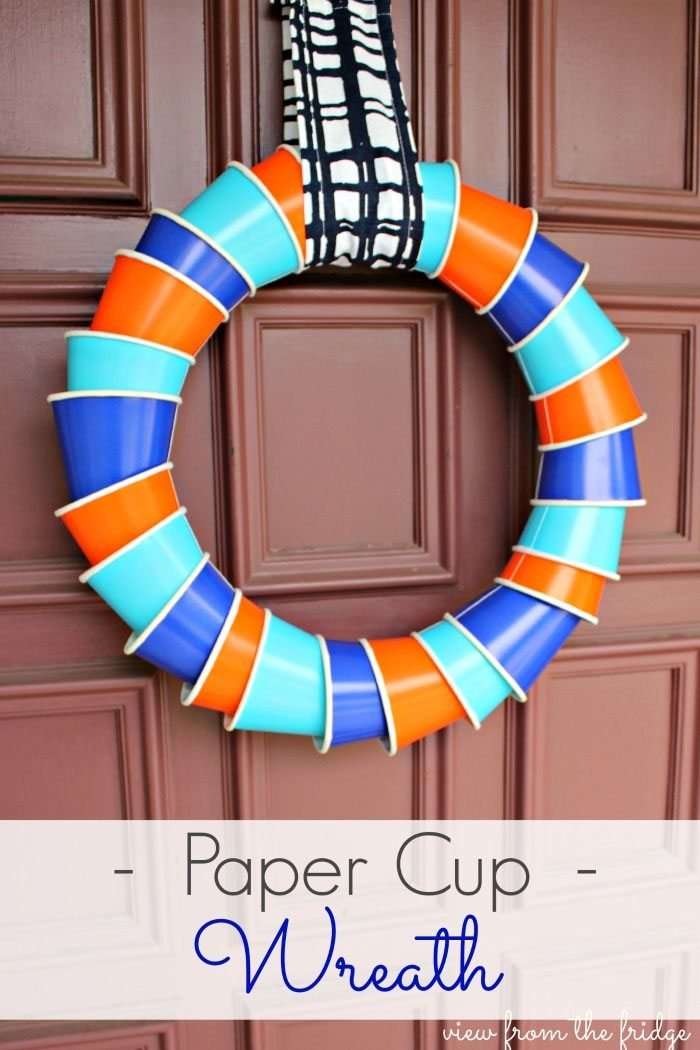 15 Fantastic Fall Crafts for Kids {Paper Cup Wreath from View from the Fridge}