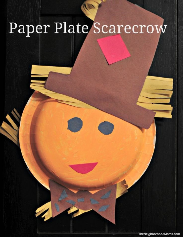 15 Fantastic Fall Crafts for Kids {Paper Plate Scarecrow from The Neighborhood Moms}