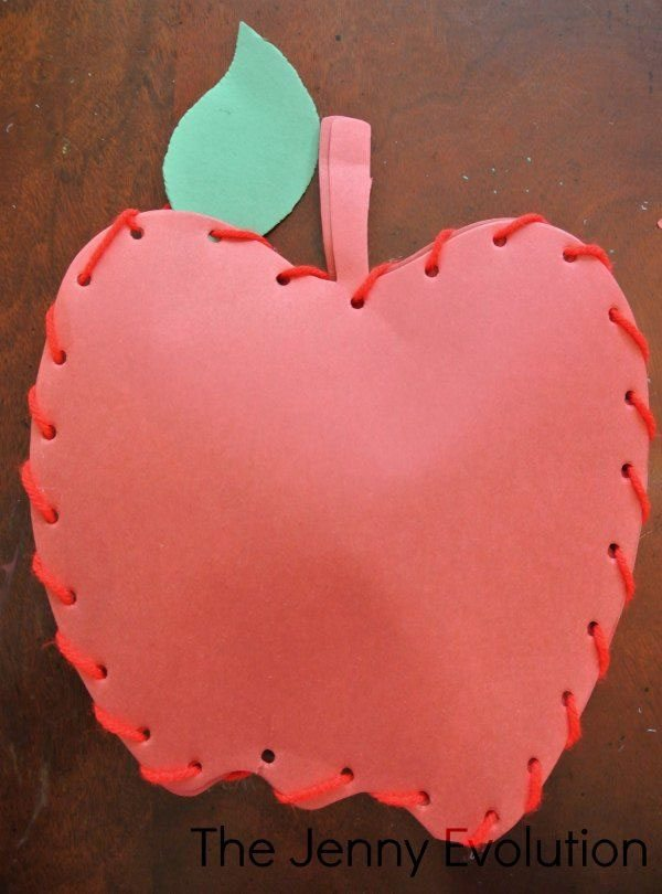 15 Fantastic Fall Crafts for Kids {Sew an Apple Craft from The Jenny Evolution}
