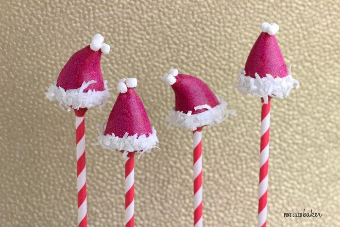 Cute and Simple Santa Hat Cake Pops.