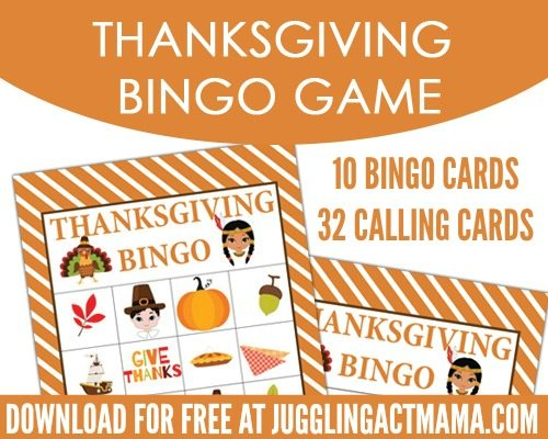 photograph regarding Thanksgiving Bingo Printable called Printable Thanksgiving BINGO Fastened - Juggling Act Mama