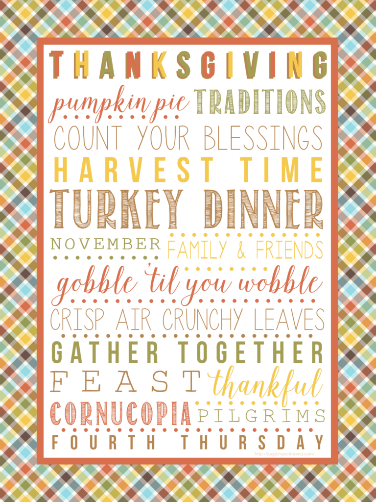 Thanksgiving Subway Art Printable