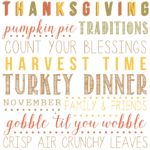 A variety of thanksgiving related words.