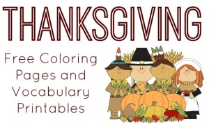 Thanksgiving Vocabulary and Coloring Page Printables