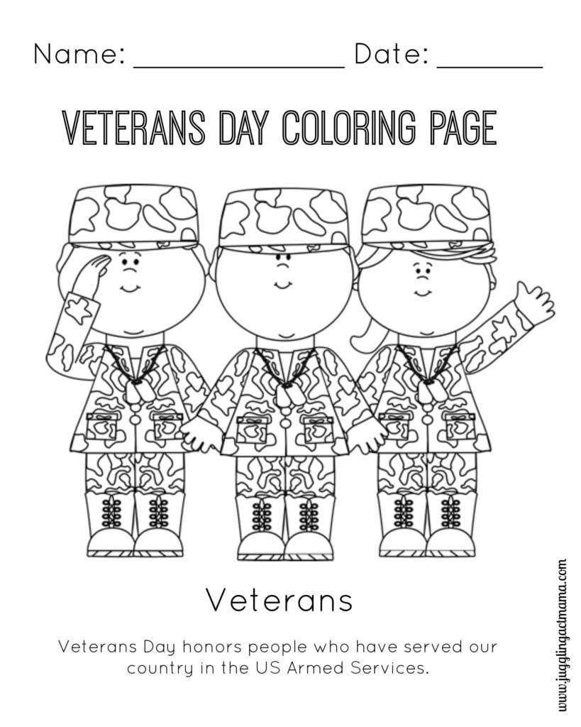 VETERANS DAY COLORING PAGE - Juggling Act Mama Free Printable