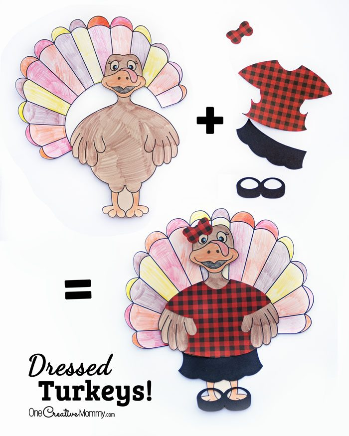 Dressed Turkeys Thanksgiving Kids' Craft from OneCreativeMommy.com