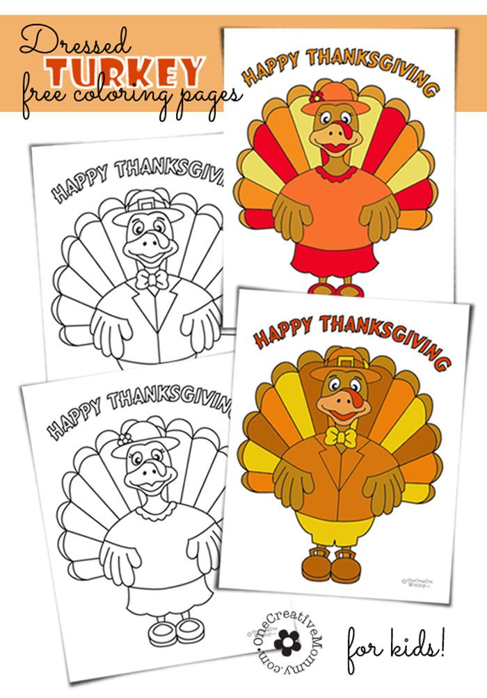 Free Thanksgiving Coloring Pages from OneCreativeMommy.com