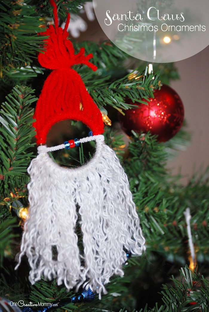Handmade Santa Claus Ornaments {Kids' Craft from OneCreativeMommy.com}
