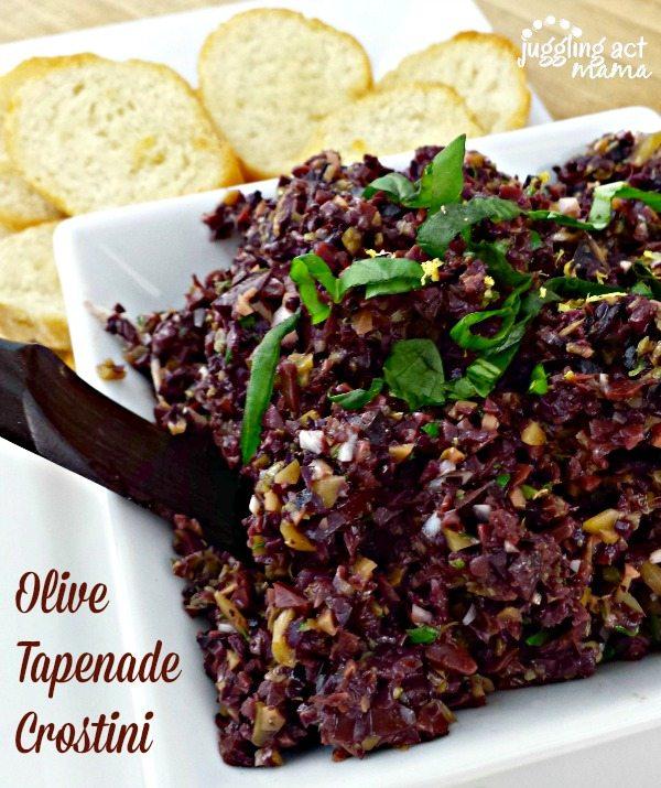 olive tapenade crostini via jugglingactmama.com