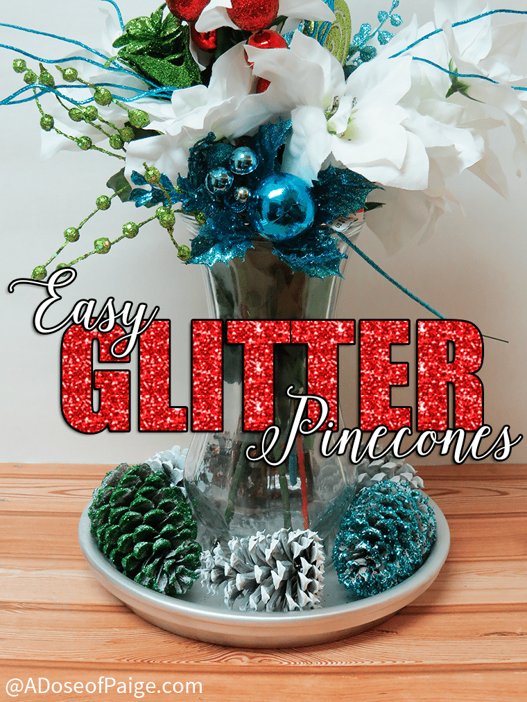 These glitter pinecones are so easy to make and the perfect finishing touch to your holiday decor.
