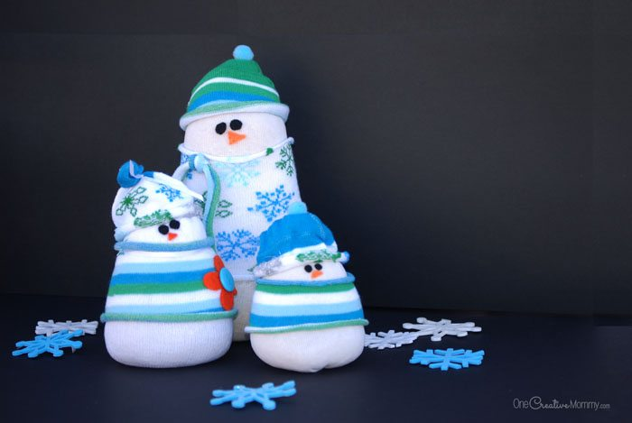 Adorable Sock Snowman Kids Craft from OneCreativeMommy.com