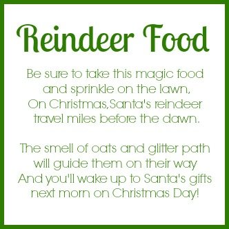 Reindeer Food Tag