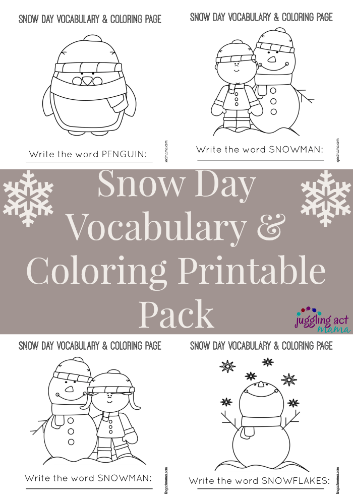 Snow Day Vocabulary & Coloring Printable Pack