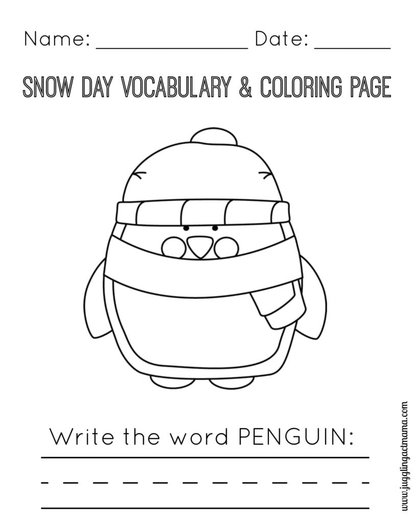 Snow Day Vocabulary and Coloring Page - Penguin