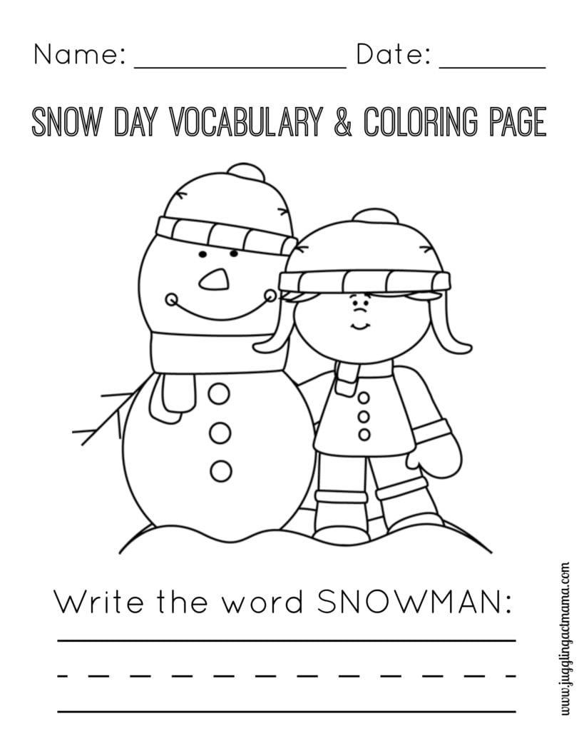 Snow Day Vocabulary and Coloring Page - Snowman and Girl