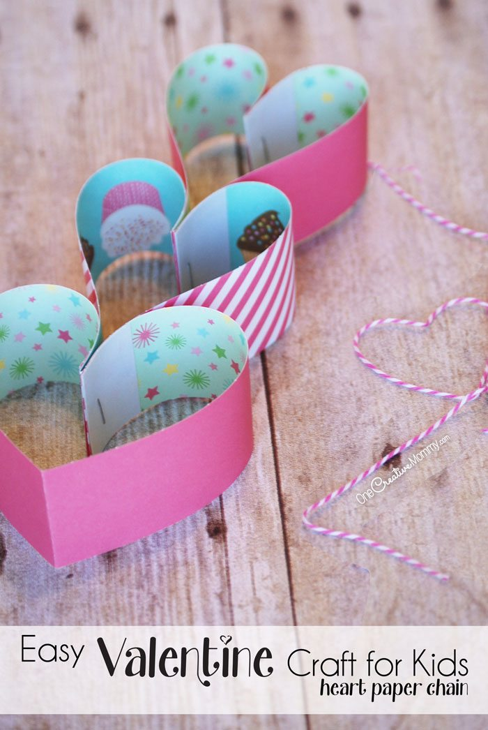 These heart paper chains are a perfect quick and easy Valentine craft for kids! Create valentine decor, necklaces and more. {Tutorial from OneCreativeMommy.com}