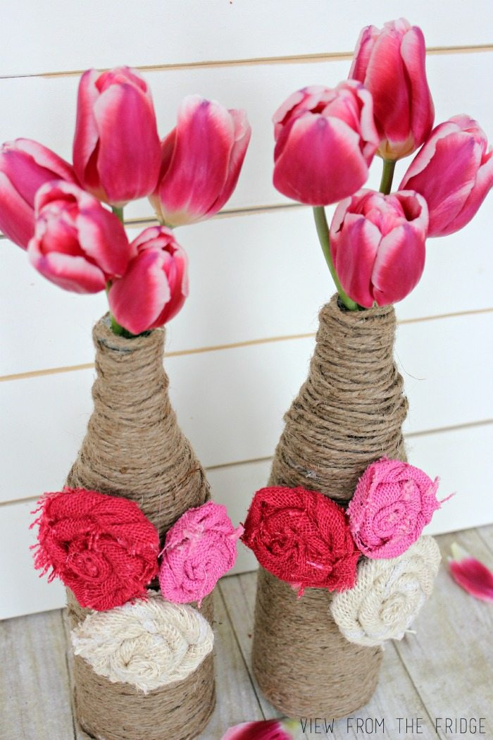 Twine Wrapped Bottle Vases with Burlap Rosettes | View From The Fridge via Juggling Act Mama