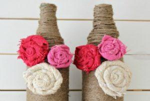 Twine Wrapped Bottle Vases