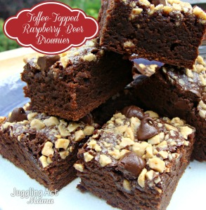 Toffee Topped Raspberry Beer Brownies