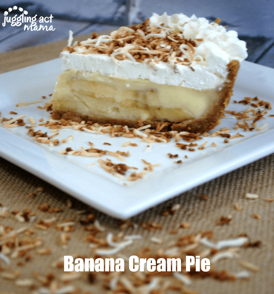 A slice of Homemade Banana Cream Pie Recipe garnished with toasted coconut.
