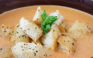 Creamy Tomato Basil Soup & Homemade Garlic Basil Croutons