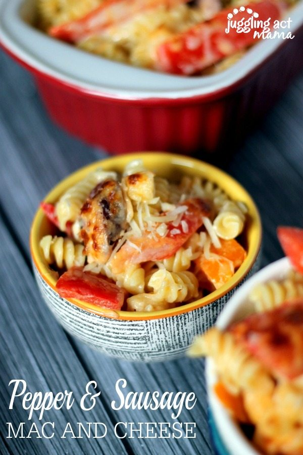 Sausage and Pepper Mac and Cheese via Juggling Act Mama www.jugglingactmama.com
