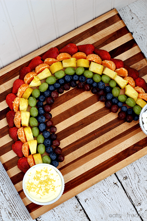 Pot O'Gold Fruit Rainbow with Lemon Cheesecake Dip