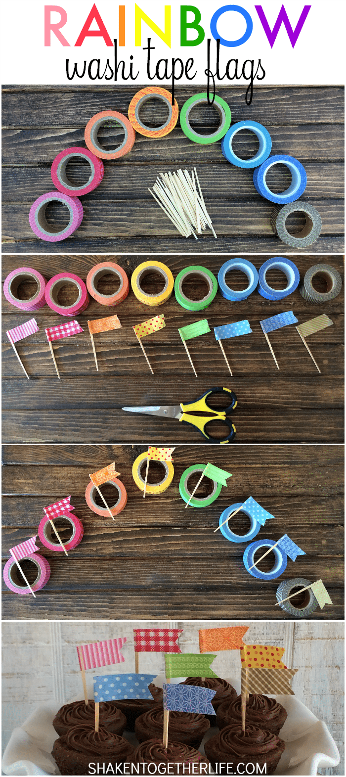 How to make Rainbow Washi Tape Flags - a simple craft from Shaken Together!