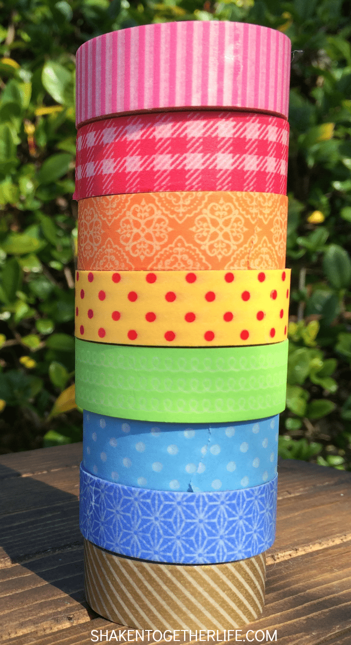Rainbow Washi Tape flags are easy to make and colorful! Perfect for St. Patrick's Day or rainbow party!