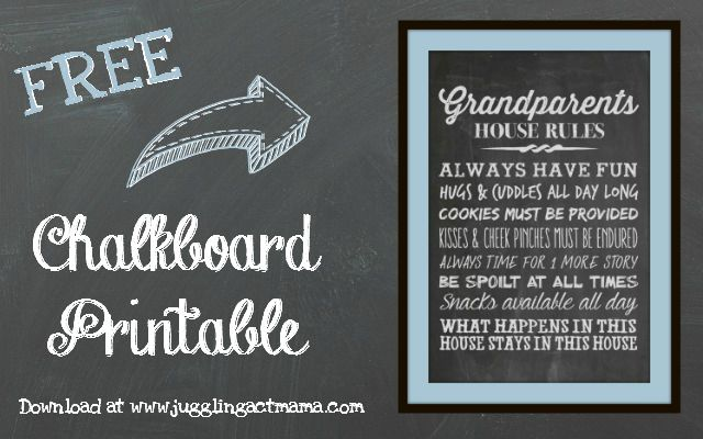 grandparent s house rules chalkboard printable grandparents day