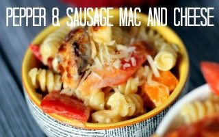 Sausage and Pepper Mac and Cheese via Juggling Act Mama feature