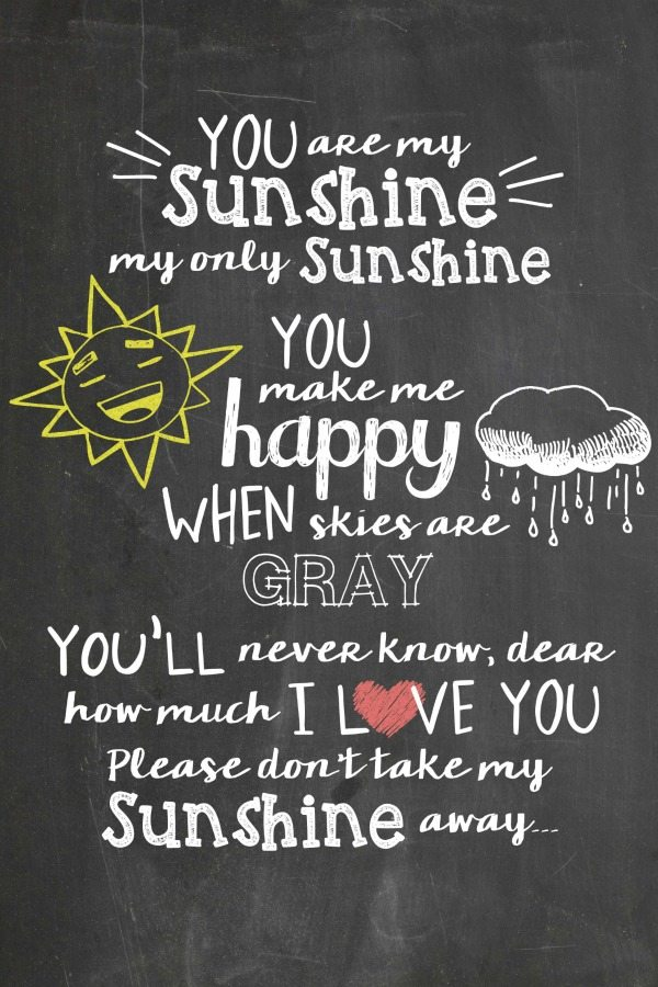 image regarding You Are My Sunshine Printable identified as On your own Are My Sunlight Free of charge Chalkboard Printable - Juggling