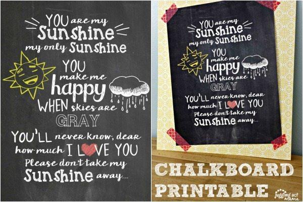 You are My Sunshine Nursery Chalkboard Printable - Juggling Act Mama