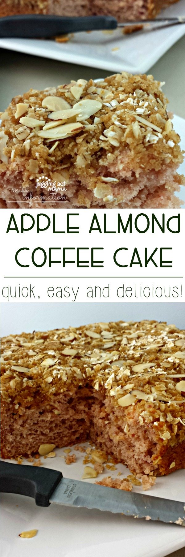 Quick, easy and delicious, Apple Almond Coffee Cake via Juggling Act Mama