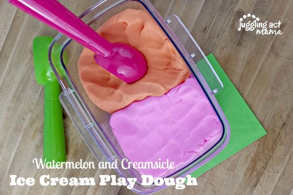 Watermelon and Creamsicle Ice Cream Play Dough - Juggling Act Mama