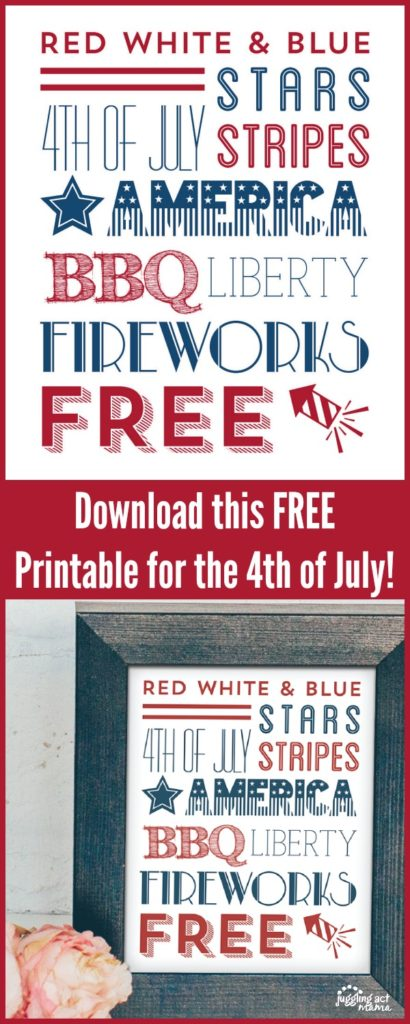 Download this FREE 4th of July Subway Art Printable
