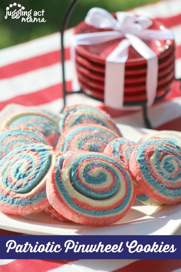 Patriotic Pinwheel Cookies - get the recipe at www.jugglingactmama.com