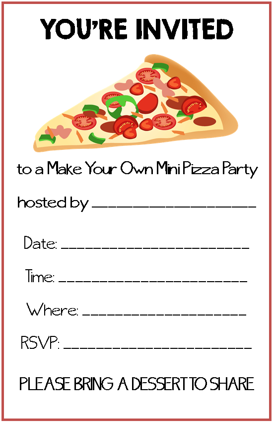 Make Your Own Mini Pizza Party Invitation - free printable