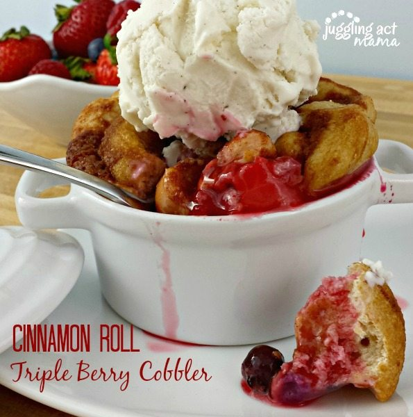 Triple Berry Cobbler Dessert via Juggling Act Mama