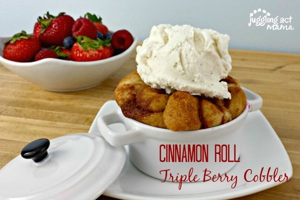 Triple Berry Cobbler with Ice Cream via Juggling Act Mama