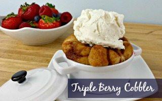 Cinnamon Roll Triple Berry Cobbler